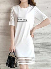 Round Neck  Hollow Out Letters Shift Dress
