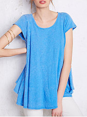 Summer  Polyester  Women  Round Neck  Backless  Plain Short Sleeve T-Shirts