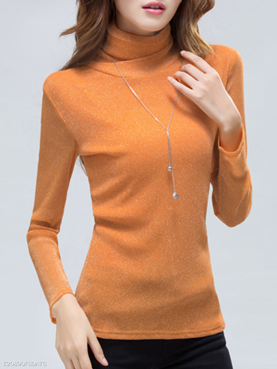 Autumn Winter  Polyester  Women  Turtleneck  See-Through  High Stretch  Plain Long Sleeve T-Shirts