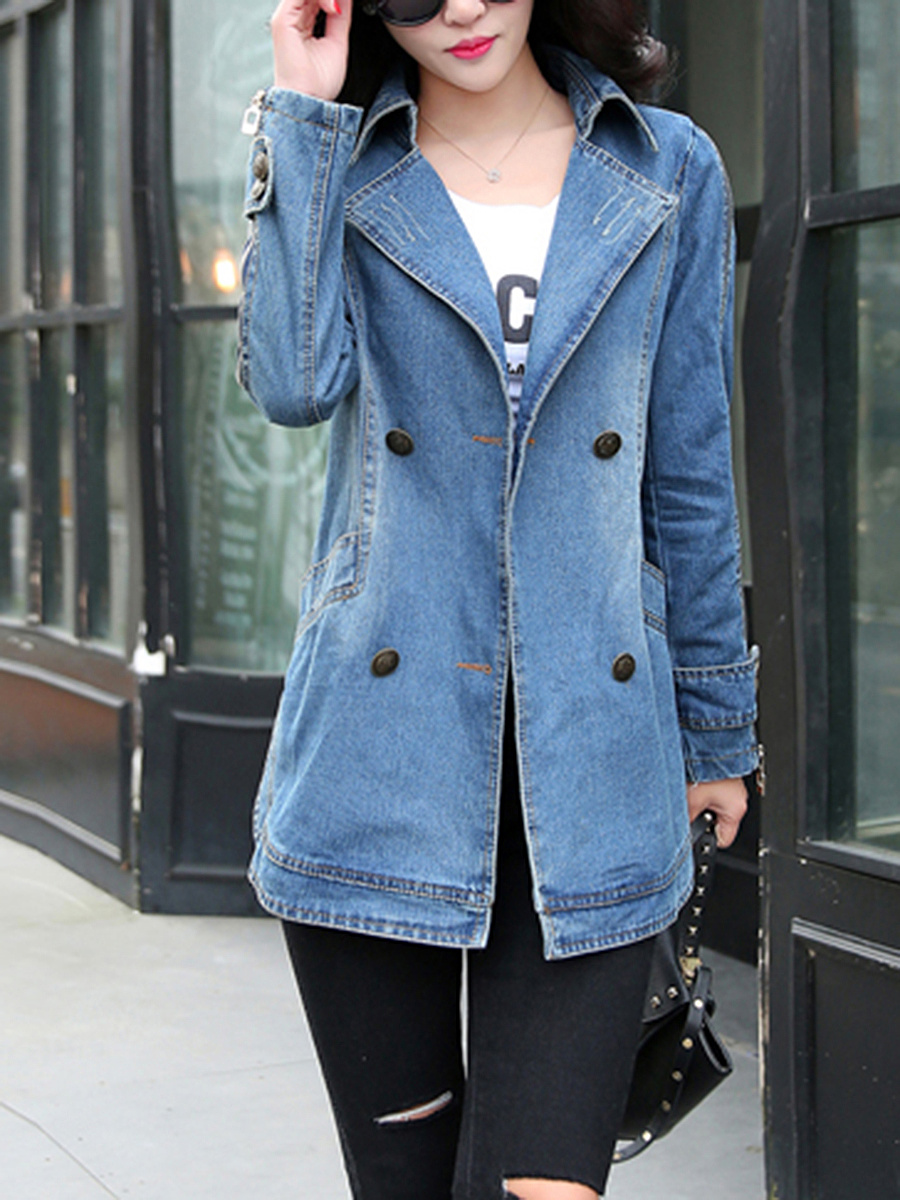 Lapel Denim Pocket Zips Curved Hem Ripped Trench Coat