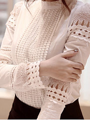 Autumn Spring  Cotton  Women  Round Neck  Hollow Out  Long Sleeve Blouses
