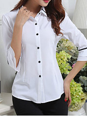 Spring Summer  Polyester  Women  Turn Down Collar  Single Breasted  Contrast Piping  Plain  Half Sleeve Blouses