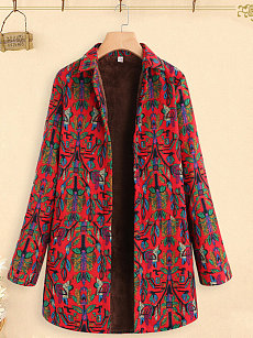 Turn Down Collar  Single Breasted  Abstract Print Coat