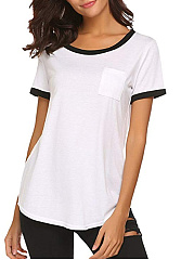 Summer  Cotton  Women  Round Neck  Contrast Piping  Plain Short Sleeve T-Shirts