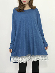 Round Neck Decorative Lace Pocket Shift Dress