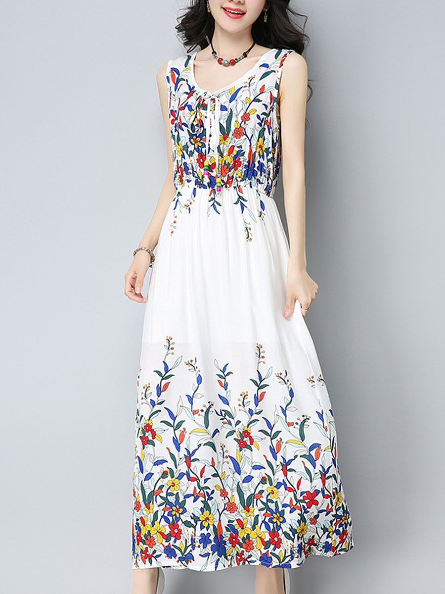V-Neck Elastic Waist Floral Maxi Dress