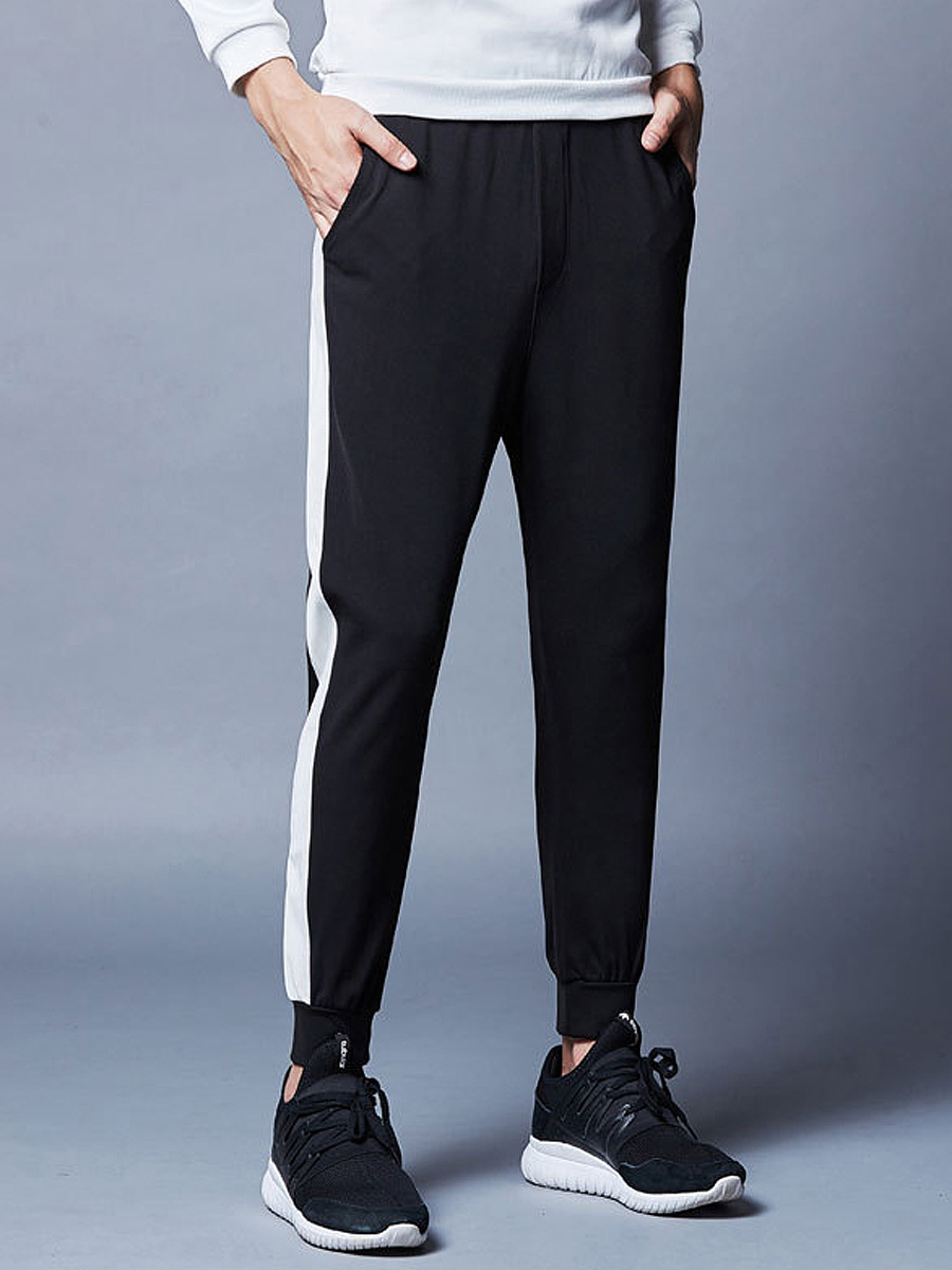 Color Block Pocket Slim-Leg Men's Casual Pants