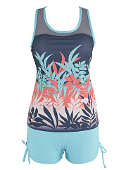 Crew Neck Leaf Printed  High-Rise Swimwear