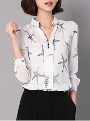 Band Collar  Decorative Button  Floral  Long Sleeve Blouses