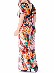 Deep V-Neck Printed Empire Plus Size Maxi Dress