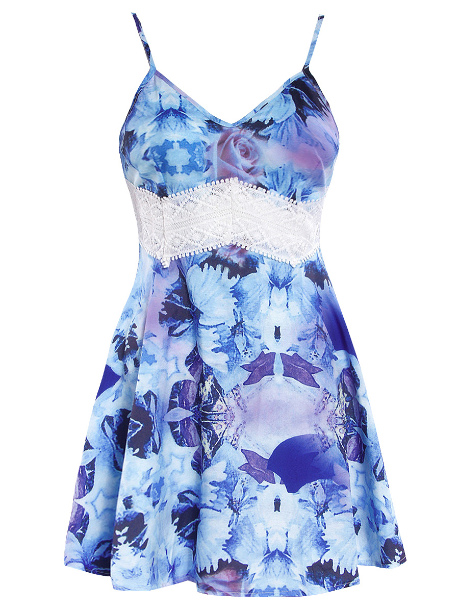 Spaghetti Strap Floral Printed Hollow Out Skater Dress