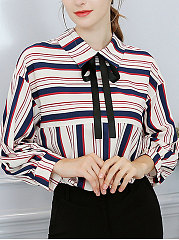 Turn Down Collar  Bowknot  Striped  Long Sleeve Blouses