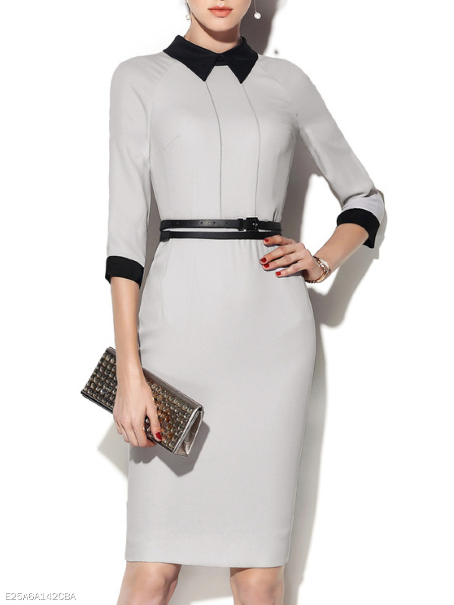Fold-Over Collar  Colouring Bodycon Dress