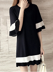 Round Neck  Color Block Knit Shift Dress