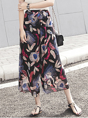 Feather-Printed-Bowknot-Wide-Leg-Casual-Pants