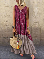 Round Neck Linen  Plain Maxi Dress