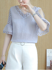 Open Shoulder  Hollow Out Plain  Bell Sleeve Blouse