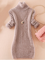 Fluffy Turtleneck Plain Sweater