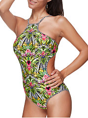 Backless  High Stretch  Printed One Piece For Women