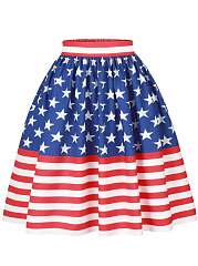 Elastic Waist US Flag Printed Flared Midi Skirt
