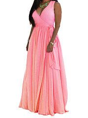 Surplice  Belt  Plain Plus Size Midi & Maxi Dresses