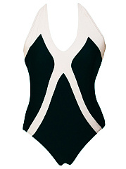 Black White Color Block Halter One Piece