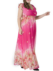 Ruffle Trim  Floral Deep V-Neck Chiffon Plus Size Maxi Dress