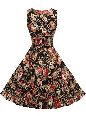 Vintage Floral Printed Round Neck Bowknot Summer Skater Dress