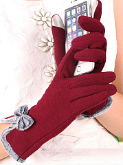 Soft Thick Woolen Bowknot Decoration Cotton Gloves