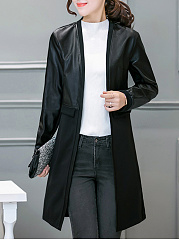 Collarless  Patchwork  Plain  Long Sleeve Trench Coats