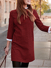 Crew Neck  Patchwork  Checkered Shift Dress
