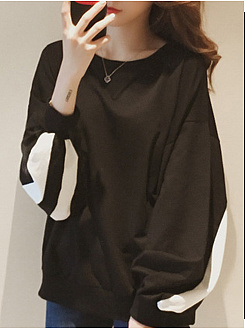 Round Neck  Contrast Piping  Long Sleeve Sweatshirts