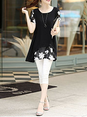 Round Neck  Patchwork  Embroidery  Raglan Sleeve Blouses