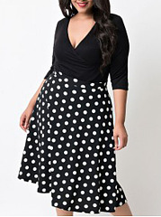 Deep V-Neck  Patchwork  Polka Dot Plus Size Midi & Maxi Dress