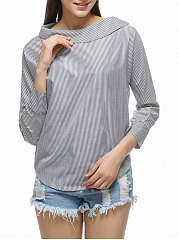 Autumn Spring  Polyester  Women  Boat Neck  Decorative Button  Striped  Long Sleeve Blouses