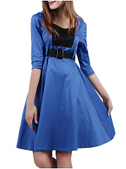 Decorative Button  Color Block Skater Dress