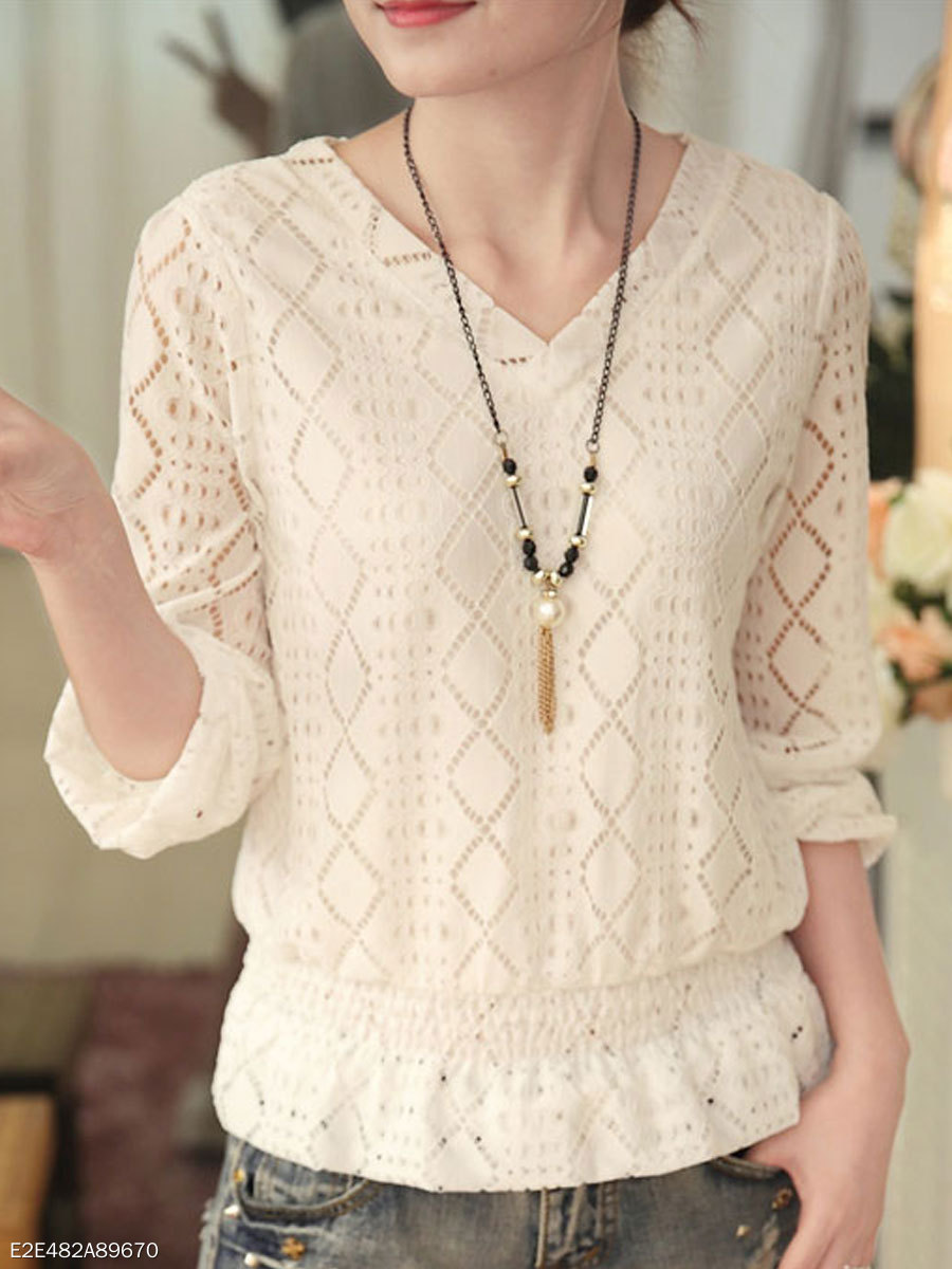 Autumn Spring  Lace  Women  V-Neck  Lace  Three-Quarter Sleeve Blouses