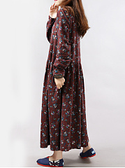 Round Neck Pocket Printed Maxi Dress