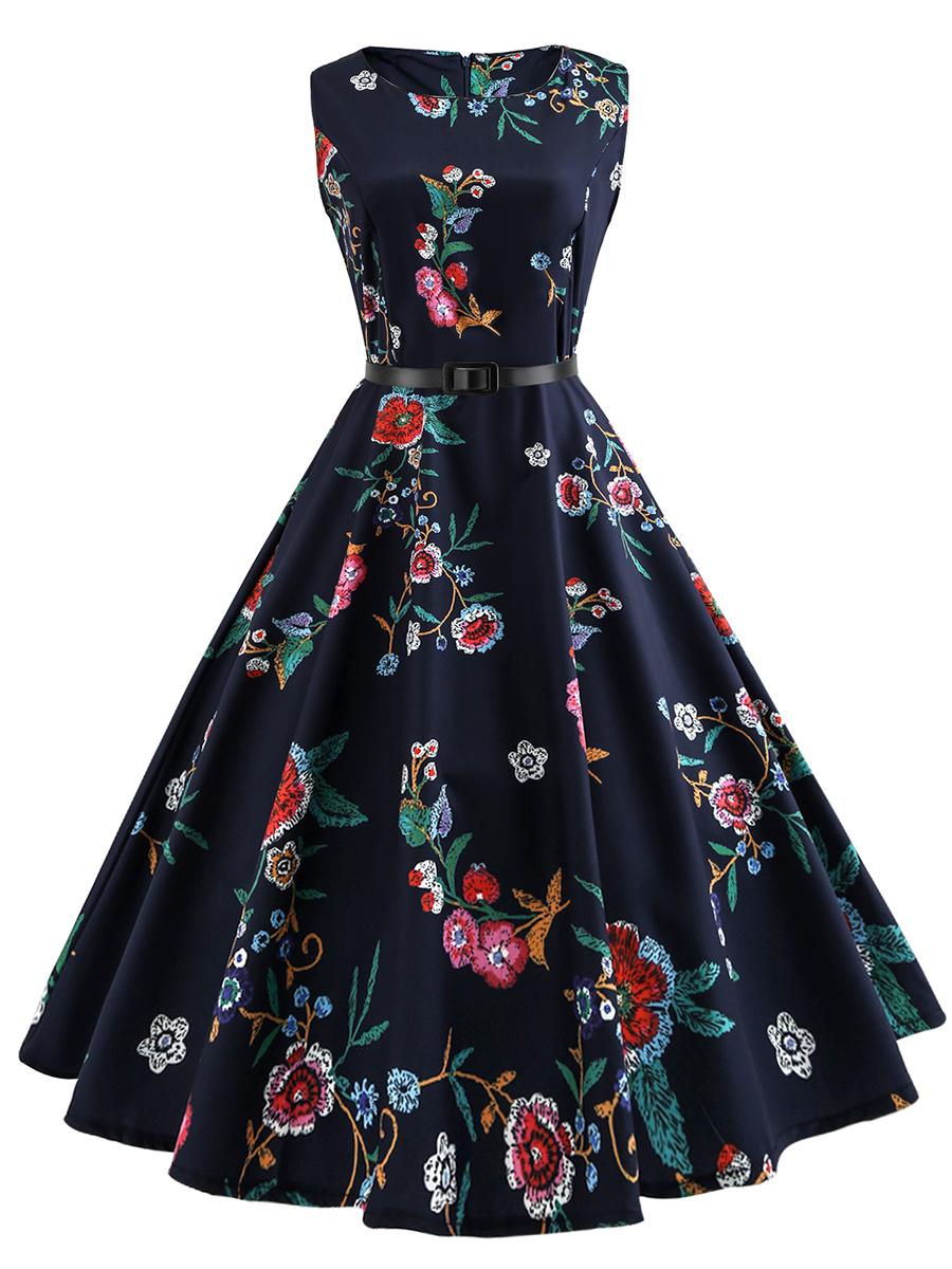 floral printed flared date party summer Round Neck Belt Skater Dress In Floral Printed