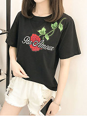 Spring-Summer-Polyester-Women-Round-Neck-Embroidery-Short-Sleeve-T-Shirts