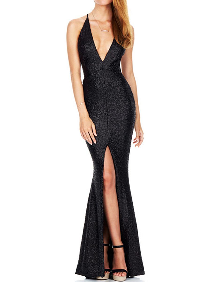 Spaghetti Strap High Slit Glitter Plain Evening Dress