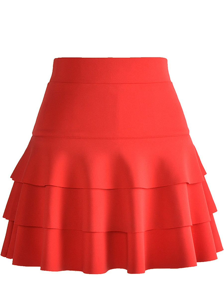 Plain Layered Mini Skirt