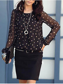 Spring Summer  Chiffon  Round Neck  Polka Dot  Long Sleeve Blouse