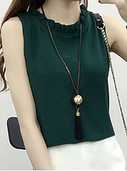 Summer  Chiffon  Women  Round Neck  Plain  Sleeveless Blouses