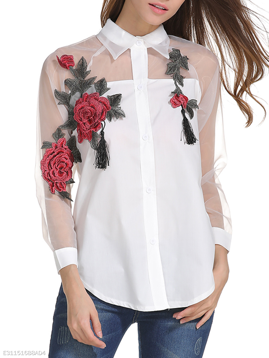 See-Through Embroidery Tassel Curved Hem Blouse
