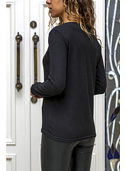 Round Neck  See Through  Patchwork Plain T-Shirts