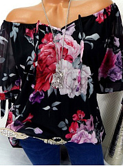 Spring Summer  Polyester  Women  Tie Collar  Floral Printed  Short Sleeve Blouses