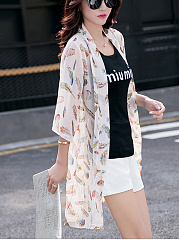 Delightful Collarless See-Through Feather Longline Kimono