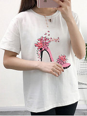 Spring Summer  Polyester  Women  Round Neck  Floral Printed Short Sleeve T-Shirts