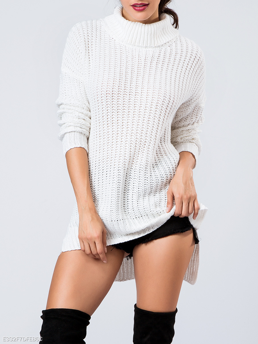 Sexy White Black Side Slit Sweater